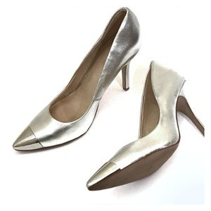 Aldo silver leather pumps with metal toe 7.5